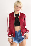 Sondra - Cactus Patch Satin Sheen Varsity Bomber Jacket