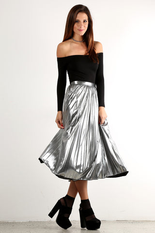 Cecilia - Glitz and Glam Foil Sparkle Pleated Midi Skirt
