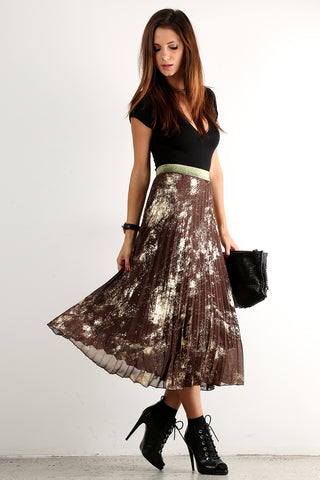 MaryLou - Foil Splash Print Pleated Maxi Skirt
