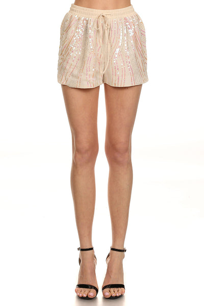 Cream Sequin Embellished Shorts by Ark & Co-6