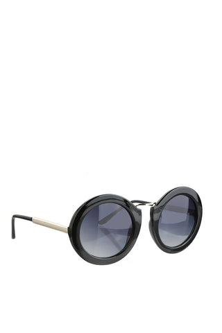 Thick Black Round Rim Sunglasses-1