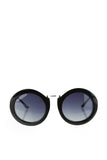 Thick Black Round Rim Sunglasses-2