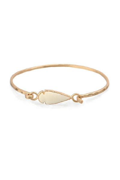 White Arrow Gold Bangle Bracelet