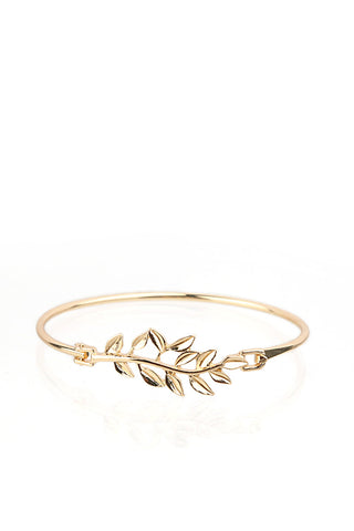 Leaf Gold Bangle Bracelet