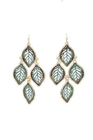 Green Chandelier Leaf Fashion Earrings