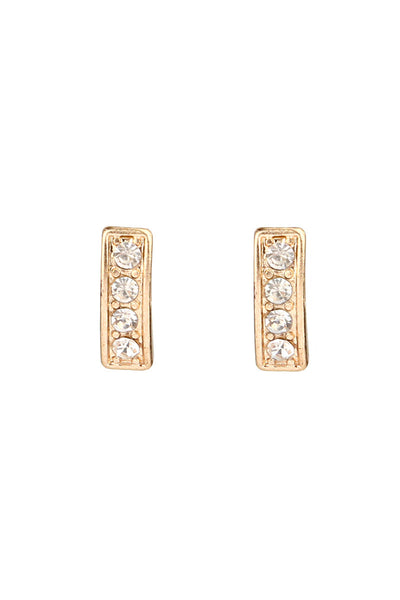 Rectangle Gold Tone Stud Earrings