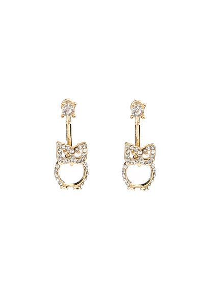 Gold Tone Owl Drop Earrings