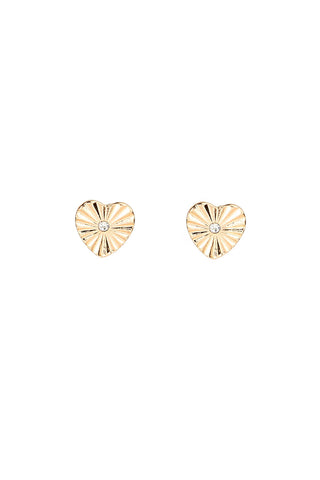 Gold Heart Stud Earrings with Crystal Center