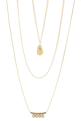 Gold Triple Chain Necklace with Drop Beads