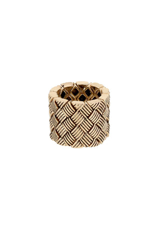 Gold Basket Weave Fashion Ring