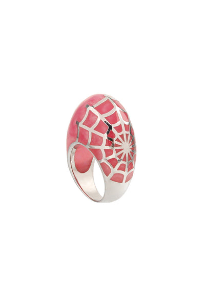 Pink Stone Silver Spider Web Ring-1