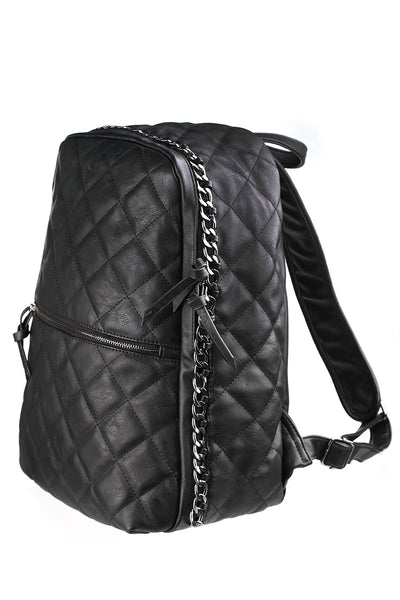 Black Vegan Leather Quilted Puffer Backpack-1