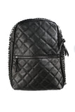 Black Vegan Leather Quilted Puffer Backpack-2