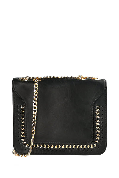 Black Double Chain Vegan Leather Foldover Handbag-1