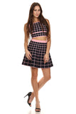 Black & Pink Checkered Skirt Set-11
