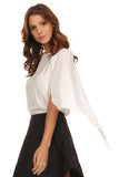 White Chiffon Caped Blouse-8
