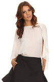 White Chiffon Caped Blouse-9