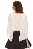 White Chiffon Caped Blouse-11