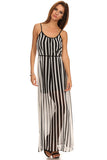 Vertical Striped Maxi Dress--5