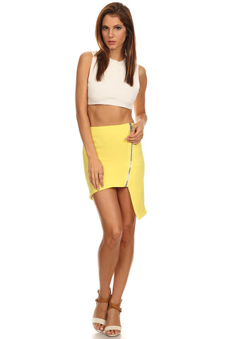 Zippered Front Mini Skirt-1