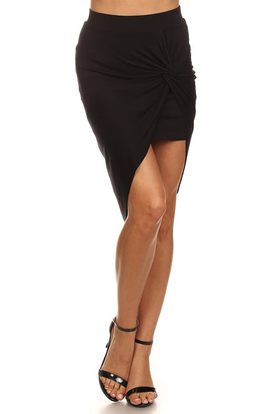 Asymmetric Hem Knotted Skirt-6