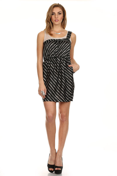 Black and White Striped Dress with One Shoulder Detail-1