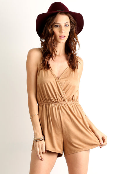 Faux Suede Cinched Waist Romper-2