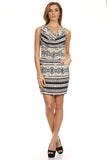 Tribal Printed Cowl Neck Dress with Pockets-1