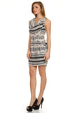 Tribal Printed Cowl Neck Dress with Pockets-2