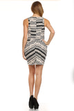 Tribal Printed Cowl Neck Dress with Pockets-3