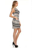 Tribal Printed Cowl Neck Dress with Pockets-4