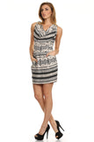 Tribal Printed Cowl Neck Dress with Pockets-5