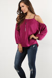 Allie - Satin Sheen Cold Shoulder Long Sleeve Top