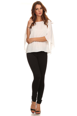 White Chiffon Caped Blouse-1