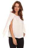 White Chiffon Caped Blouse-4