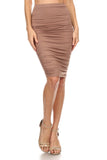 Diana - High Waist Ruched Midi Skirt