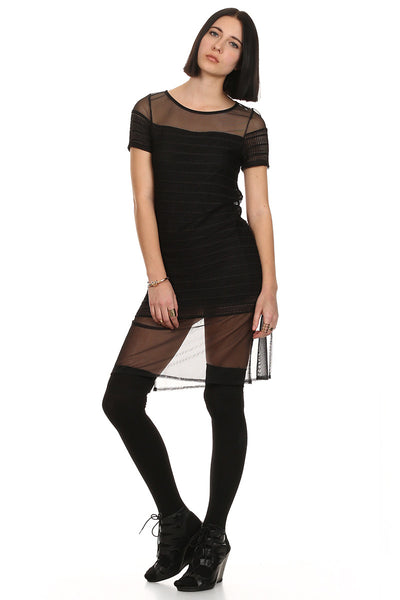 Textured Sheer Short Black Dress-2