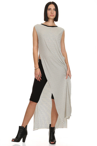 Stripe Sleeveless Long Slit Maxi Dress-1