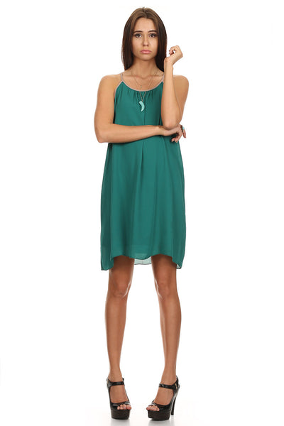 Green Sleeveless Shift Dress-1
