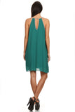 Green Sleeveless Shift Dress-3