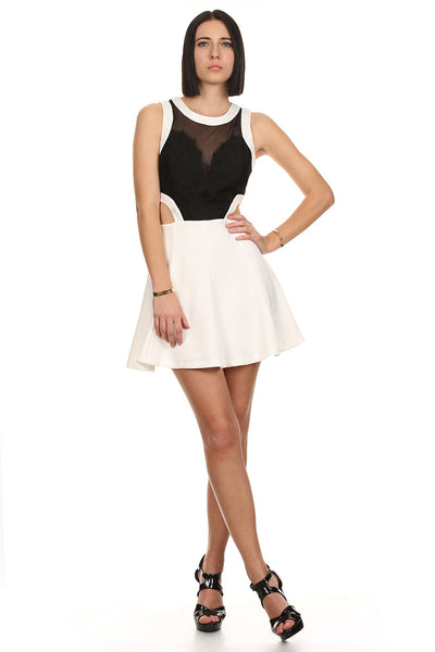 Black and White Cut Out Dress with Lace-1