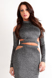 Tinsel Threading Cut Out Crop Top & Skirt Set-3