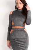 Tinsel Threading Cut Out Crop Top & Skirt Set-5