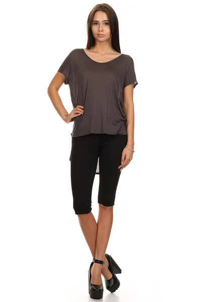 Short Sleeve High Low Top-2