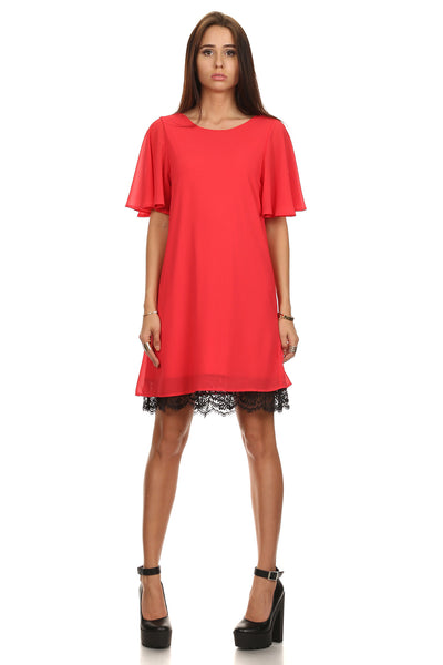Flounce Sleeve Shift Dress-1