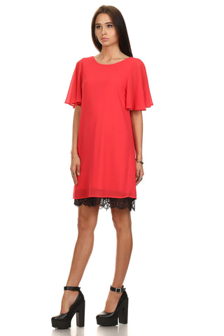 Flounce Sleeve Shift Dress-2