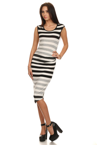 Striped Sleeveless Tank Dress-3