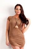 Faux Suede T-Shirt Mini Dress-26