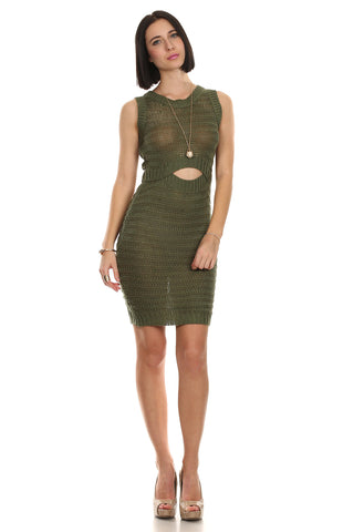 Crochet Knit Cut Out Bodycon Dress-1
