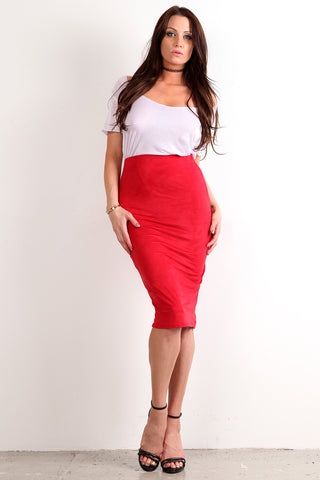 Vannah - Faux Suede Bodycon Midi Pencil Skirt